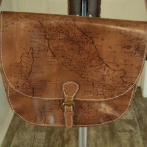 "Patricia Nash ""Signature Map"" Crossbody Saddle Bag"